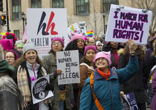Women`s March on Washington. The Women`s March on Washington that was held on January 21, 2017. Women and men from across the country came to speak out for women stock images