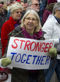 Women`s March on Washington. The Women`s March on Washington that was held on January 21, 2017. Women and men from across the country came to speak out for women stock image