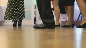Women`s and men feet in moving close up stock video footage