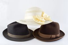 Women's and men's hats Stock Photography