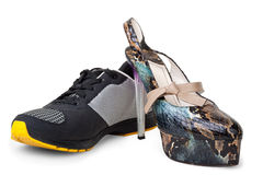 Women's and men's shoes Royalty Free Stock Photo