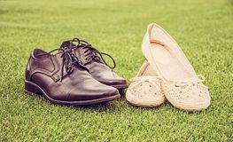 Women`s and men`s wedding shoes, retro filter Stock Image