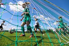 Women`s National League game: Cork City FC vs Galway WFC. May 12th, 2019, Cork, Ireland - Women`s National League game: Cork City FC vs Galway WFC royalty free stock image