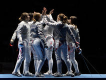 Women's national teams of France and Russia Royalty Free Stock Image