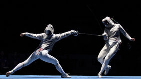 Women's national teams of Ukraine and China. Compete at the 2010 RFF Moscow Saber World Fencing Tournament in Moscow, Russia