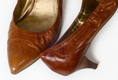 Women's old ragged shoes Stock Image