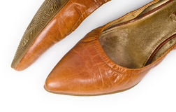Women's old ragged shoes Royalty Free Stock Images