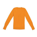 Women`s orange v-neck pullover, isolated on white Royalty Free Stock Photo