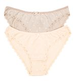 Women's panties of cotton beige and brown color Royalty Free Stock Photos