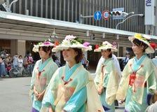 Kimono women's parade of Gion festival, Kyoto Japan. Stock Photos