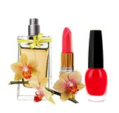 Women's perfume in bottle, lipstick, nail polish Royalty Free Stock Photos