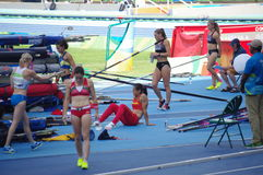 Women's pole vault competition Royalty Free Stock Image