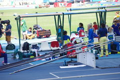 Women's pole vault competition Stock Photo