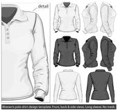 Women's polo-shirt design template. Long sleeve