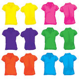 Women's Polo Shirt Template in Many Color Royalty Free Stock Photos
