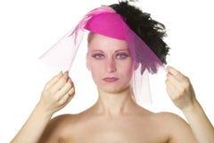 Women's portrait make-up, white background Royalty Free Stock Photos