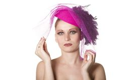 Women's portrait make-up, white background Royalty Free Stock Images