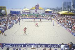 Women's professional sand volleyball tournament Royalty Free Stock Photos