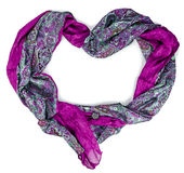 Women's purple silk scarf in form of heart Stock Photography