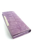 Women's purse. Women's purple leather purse on a white background stock photo