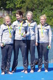 Women's quadruple sculls gold medalist Stock Photos