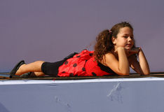 Women's race. Little girl dancing on the stage within the program of traditional Women's race held in september 2011. in Ada Ciganlija, Belgrade,Serbia Royalty Free Stock Images
