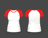 Women's raglan t-shirt in front and back views. Vector template. Fully editable handmade mesh Stock Photo