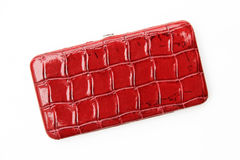 Women's Red Alligator / Crocodile Wallet. Isolated on the white background Royalty Free Stock Photos