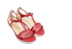 Women's Red Leather Sandals Isolated on White #6. Pair of cute red sandals on white background #6 Stock Photography
