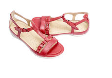 Women's Red Leather Sandals Isolated on White #2. Pair of cute red sandals on white background #2 Royalty Free Stock Photography