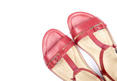 Women's Red Leather Sandals Isolated on White #4 Royalty Free Stock Images