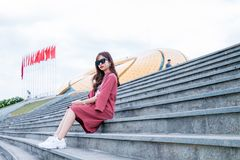 Women's Red Long-sleeved Dress Royalty Free Stock Photography
