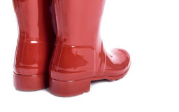 Women's Red Shiny Rubber Boots  #2 Stock Images