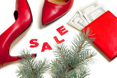 Women`s red shoes on Christmas sale Stock Images