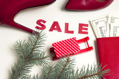 Women`s red shoes on Christmas sale Royalty Free Stock Photos