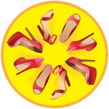 Women`s red shoes on a yellow background.Vector royalty free illustration