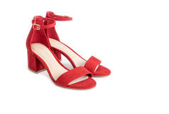 Women`s Red Suede Leather Sandals  1. Women`s Red Suede Leather Sandals Isolated on White  1 Royalty Free Stock Image
