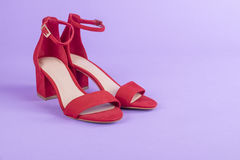 Women`s Red Suede Leather Sandals  3 Stock Photos