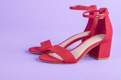 Women`s Red Suede Leather Sandals  1 Royalty Free Stock Photo