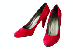 Women's red velvet shoes Stock Photo