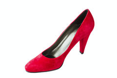 Women's red velvet shoes Royalty Free Stock Photos