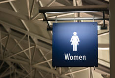 Women's Restroom Ladies Lavatory Sign Marker Public Building. The Sign for Ladies Lavatory Women's Bathroom in a Public Building Business Place royalty free stock photos