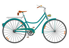 Ladies bicycle. Womens retro bicycle on a white background Royalty Free Stock Photography