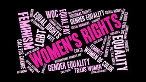 Women`s Rights Animated Word Cloud vector illustration