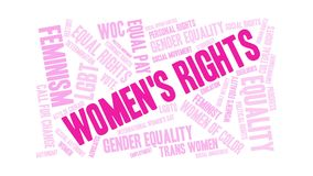 Women`s Rights Animated Word Cloud stock illustration