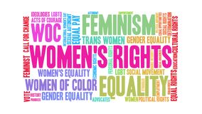 Women`s Rights Animated Word Cloud royalty free illustration