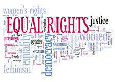 Women's rights. Equal rights for women - feminism concept word cloud vector illustration