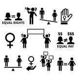 Women`s rights, feminism, equal rights form men and women. Women fighting for equal rights in society, women protesting  icons set Royalty Free Stock Images