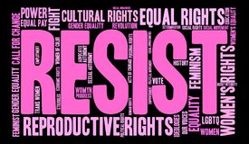 Resist Word Cloud. Women`s Rights Resist word cloud on a black background Royalty Free Stock Photography