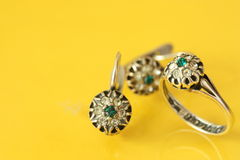 Womens earrings and ring Royalty Free Stock Images